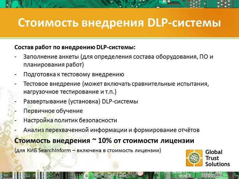 Стоимость внедрения DLP-системы